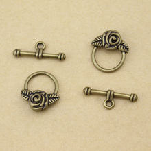 20sets/lot Wholesale Fashion bronze Plate unique rose toggle clasps DIY jewelry F754-13(China)