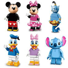 Newest Cartoon Small Assembly Action Figure Mickey Mouse Minnie Donald Duck Daisy Stitch Aladdin Genie Building Block Toy