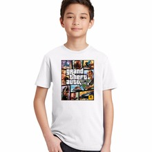 3 4 5 6 8 10 12 Y Boys T Shirt gta Street Fight Girls T-Shirt gta 5 clothes Children Tees Short Sleeve Kids Clothes Tops Cotton(China)