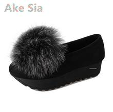 Ake Sia Maomao shoes fall and winter plus cashmere flat shoes Peas thick beanie shoes women 's suede cotton feet shoes#3(China)