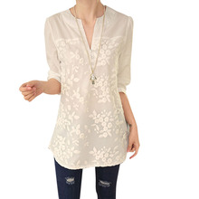 Casual White Women Long Blouse Ladies Elegant V-neck Embroidery Blouses 3/4 Sleeve OL Office Shirt Plus Size