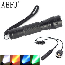 501B XM-L T6 Q5 White/Green/Red/Blue Light LED Tactical Flashlight Torch Pressure Switch Mount Hunting Rifle Gun Light Lamp