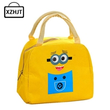 Cartoon Portable Insulated Canvas Lunch Bag Minions Thermal Food Picnic Lunch Bags For Women Kids  Cooler Lunch Box Bag Tote