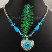 Free Shipping Beautiful jewelry Sky Blue Lampwork Glass Heart Women Pendant Necklace 1Pcs G4971(China)