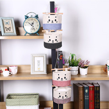 The New Cute Cat Multi - Storey Cloth Wardrobe Bag Storage Bag Cotton Hemp Wall Hanging Hanging Wall Storage Bag 15x7.5x13.5cm