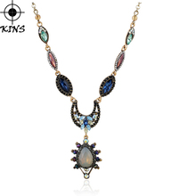 KINS Imitated Gemstone Pendant Necklace  Women Bohemian Ethnic Style Vintage Alloy Chain Flower Pendant Necklace Jewelry A00185