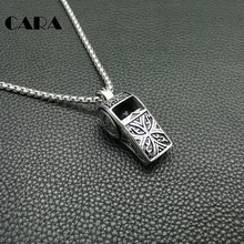 CARA Fashion boys necklace 70cm Length Chain Vintage 316L Stainless Steel Whistle Pendants Necklaces For Men jewelry CAGF0251