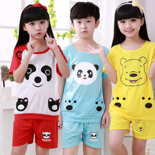 Hot sale Summer 2017 New Children boys girls kids Clothing Sets Cartoon suits 2 pcs Sleepwear Short Sleeve Cartoon Pajamas Sets