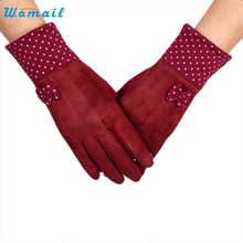 Fashion Womens Touch Screen Cotton Wrist Gloves Red Dot Mittens For women Warm Winter Gloves Elegant Nobility High Quality