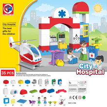 Kid's Home Toys Large Particles City Hospital Emergency Helicopter Model Building Block Nurse Doctor DIY Bricks Compatible Duplo