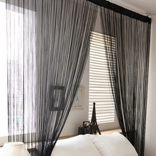High Quality New Solid Line String Window Curtain Tassel Door Room Divider Scarf Valance 1x2M(China)