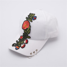 Popular Floral Baseball Cap For Women Bone Snapback Hat Iron Rings Sunhat Casual Females Hats Fashion Ajustable gorras mujer(China)