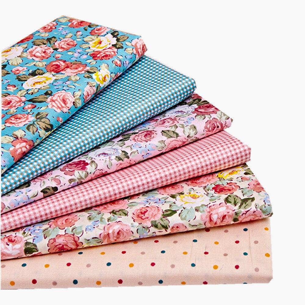 6 шт./лот 4050 см Синий Розовый Цветочный Серии 100% хлопок ткань лоскутное ткань Bundle тильда ткань для шитья Diy ткань(China (Mainland))