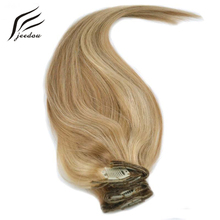 jeedou Straight Synthetic Clip In Hair Extensions 20inch 50cm 8Pcs 160g Real Natural Hair Light Blond 12Colors Plump Hairpieces