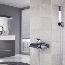 8206 Waterfall Black Glass Spout Wall Mounted With Handheld Shower Tap Mixer Faucet(China)