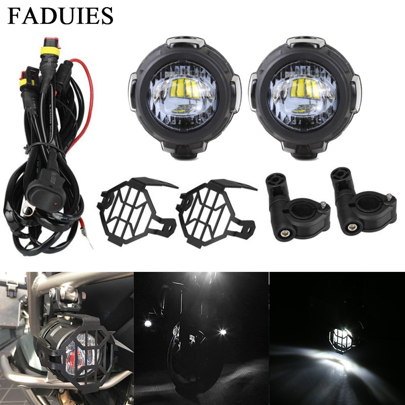 1 Universal Motorcycle LED Auxiliary Fog Light Assemblie Driving Lamp 40W Headlight For R1200GSADVF800GS (10)