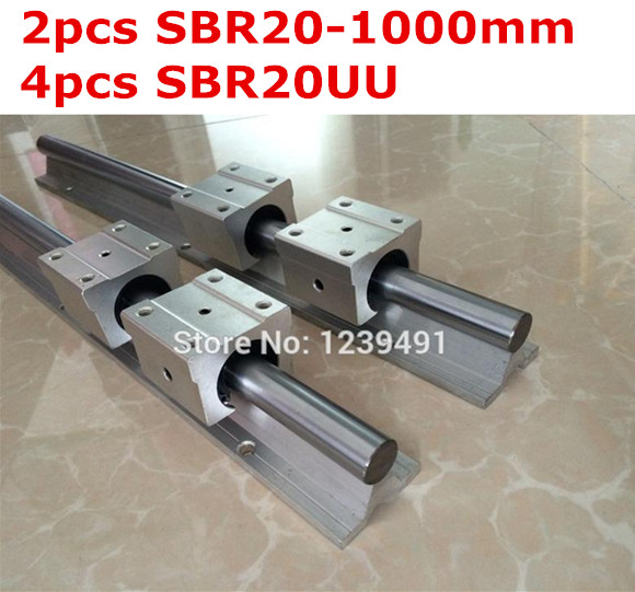 2pcs SBR20 - 1000mm linear guide + 4pcs SBR20UU block cnc router<br>