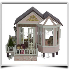 A012 large Villa diy big dollhouse wooden doll house miniature Building Model Furniture toys with music and lights