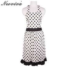Neoviva Polka Dot Cotton Dress Apron for Adult Women Plus Size with Lining Betty White Keukenschort Tablier Cuisine Aprons Lady(China)
