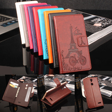 HongBaiwei Flip Cover for Vernee Thor Case 3D Eiffel Tower Pattern Luxury Leather Magnetic Wallet Phone Bag Case for Vernee Thor