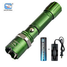 Brightest Tactical Flashlight Zoom  Riding Flashlights Strong Light Torch with 18650 Rechargeable Battery and Charger