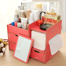 Hoomall Makeup Organizer Wooden Storage Box For Jewelry Cosmetic Handmade Assemble DIY Container Box Case For Office Sundries