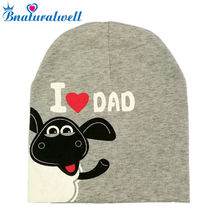 Bnaturalwell Sweet I Love Mama Dad Beenies Baby Girls boy Cartoon Beanie Toddler Skullcap Winter Hat Grey Skull Cap(China)