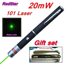 [RedStar]20mW 101 Green & Red Laser pen 532nm single point laser pen teacher pointer indicative pen Gift set include metal box