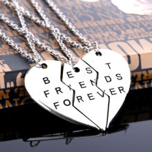 New Chic Best Friend Forever Broken Heart 3 Parts Pendant Necklace Chain Fashion Jewelry Gifts Friendship Love Sister Brother