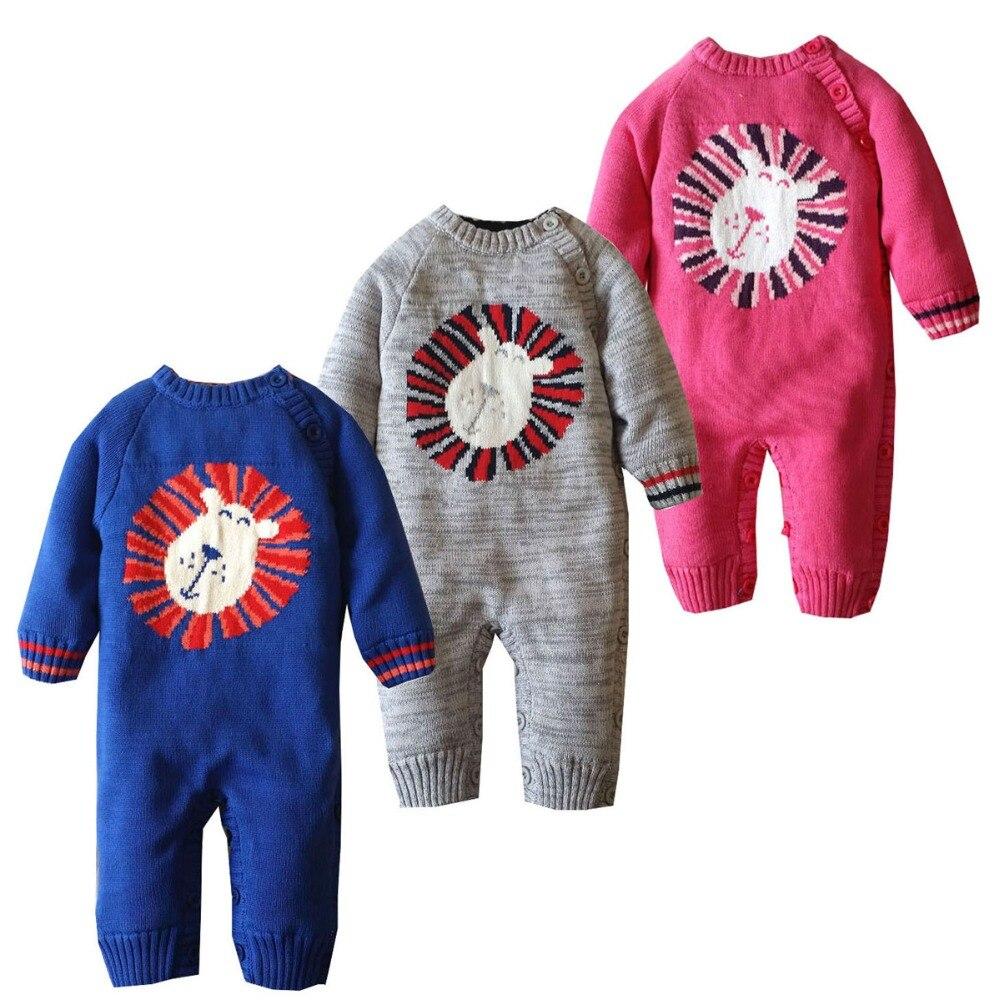 2017 Autumn winter boys girls thick warm cartoon lion long sleeve rompers newborn weave jumpers children climbing sweater 17S907<br>