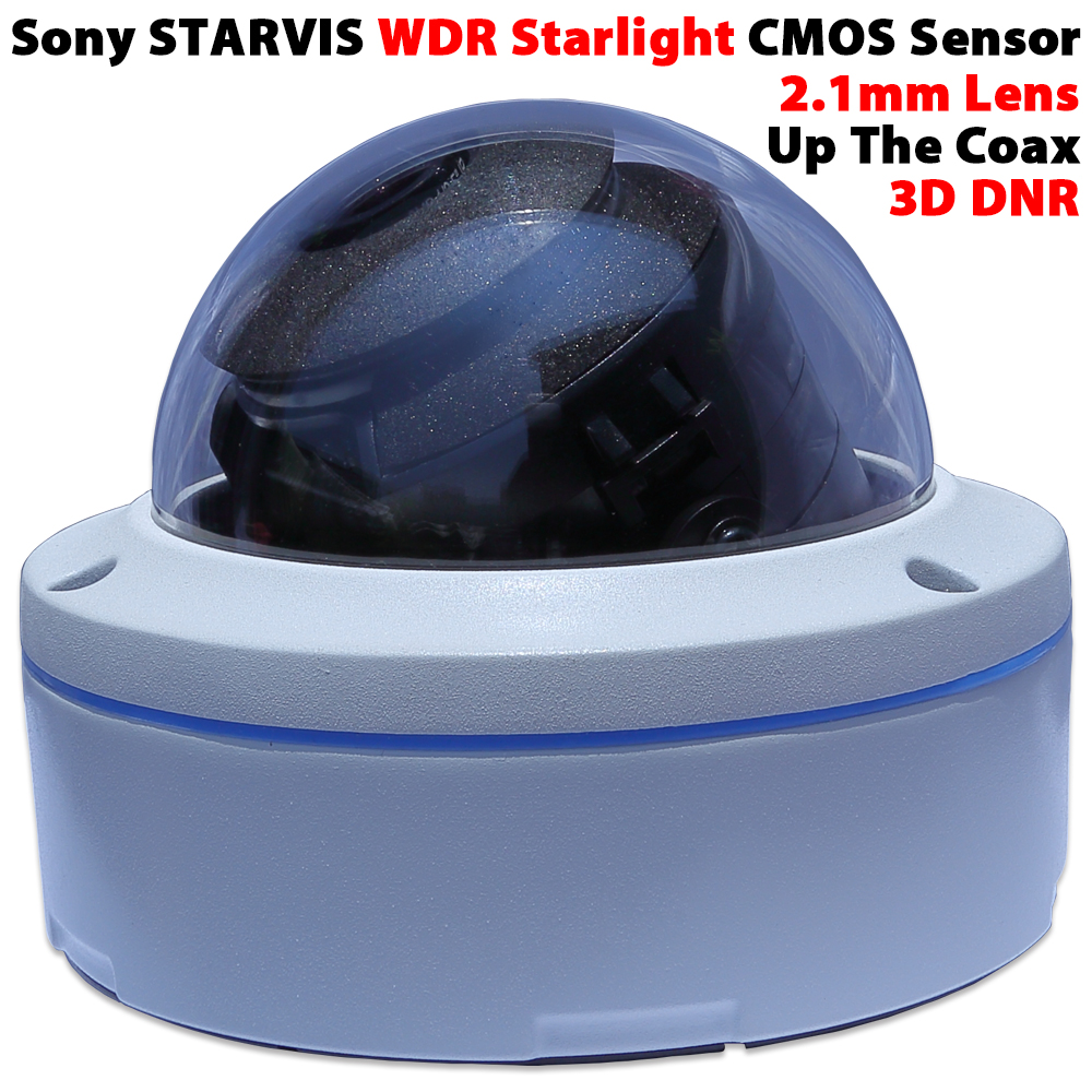 True WDR Sony STARVIS CMOS Startligh full-color 2.1mm lens wide-angle camera vandal casing waterproof AHD/TVI/CVI/CVBS TV 4 in 1<br>