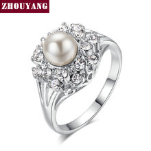 Top Quality ZYR171  ZYR182 Elegant Imitation Pearl Crystal Ring Silver Color Austrian Crystals Full Sizes Wholesale