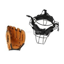 Baseball Catcher Protective Gear Face Guard Mask + Baseball Glove 10.5inch - Breathable and Comfortable to Wear -  Unisex