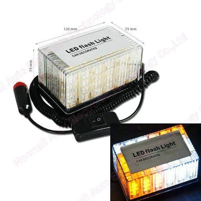 48 LED Car Roof Flash Strobe Magnets Emergency  Shell Warnnig Light  12V Car Truck Grill Emergency Yellow White Blue Amber Red<br><br>Aliexpress