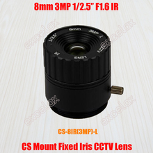 "High Quality 3MP 1/2.5"" 8mm F1.6 CS Mount CCTV Lens Manual Iris IR Multilayer Coating for 960P 1080P 1.3MP 2MP Analog IP Camera(China)"