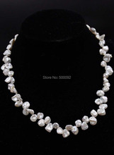 Baroque 8-9mm natural white Keshi pearl necklace free shipping
