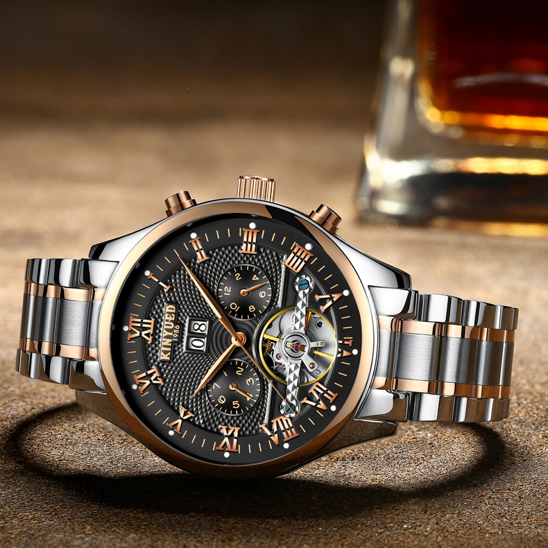 KINYUED Men's Self-Wind Tourbillon Mechanical Watches Water Resistant Automatic Skeleton Watch Men Relojes Hombre 2018 Dropship 8