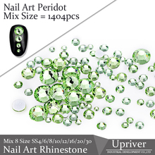 Glue On Flat Back 1404pcs Peridot Best Quality Non Hot Fix Glass Material Mix 8 Size Nail Art Rhinestones
