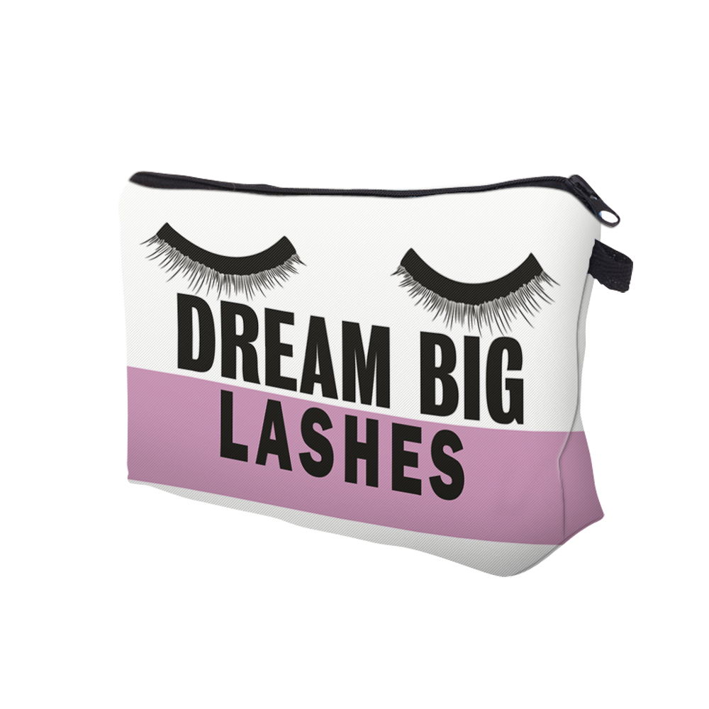 """I Like My Eyelashes"" Printed Makeup Bag Organizer 10"