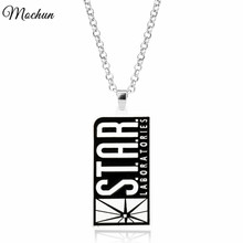 MQCHUN DC Comics Superhero The Flash Chain Necklace S.T.A.R. Laboratories Logo Black Enamel Metal Jewelry For Movie Fans Gifts