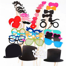 Free Shipping 1Set of 44pcs Photo Booth Props Glasses Mustache Lip On A Stick Wedding Birthday Party Fun Favor dwDPF