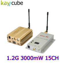NEW 1.2GHz 3000mW 3W 15 Channel Digital Wireless AV Sender Transmitter and Receiver Audio Video Sender for CCTV Surveillance(China)