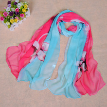 ladies printe lace flower scarf/scarves beach chiffon silk floral plain hijab head pretty shawls/scarf 10pcs/lot(China)