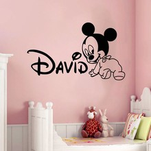 Creative New DIY cute Mickey Mouse Custom Kids Name baby wall stickers for kids rooms home decoration wall stickers