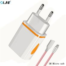 Buy OLAF Travel Dual USB Charger 1M Android Cable Adapter Wall Portable EU Plug Mobile Phone Charger Samsung Xiaomi HuaWei for $2.84 in AliExpress store