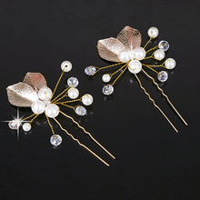 6 PCS Vintage Handmade Leaf Beaded Wedding Hair Accessories Pins Hair Clip Crystal Bridal Headpiece For Women