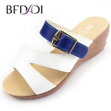 BFDADI New 2016 Newest PU Buckle Women Slippers Buckle Platform Sandals Slip-resistant Wedges Sandals Lady Sandalias E-1