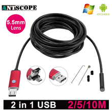 Antscope Endoscope USB Android Camera 5.5mm Red PC Borescope 2m 5m 10m Snake Pipe Inspection Endoscopic Camera for Android Phone(China)