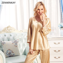 ZENWINKAY Spring Winter Women Long Sleeve Silk Sleepwear Satin Pajamas Set Woman Pajamas with Pants Pure Silk Nightwear L XL XXL(China)