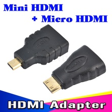 1 set HDMI to Mini HDMI to Micro HDMI HD Gold extension Adapter Converter Connector for TV HDTV Support 3D 4K*2K